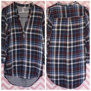 Alya Flannel Hi-Low Tunic Size S